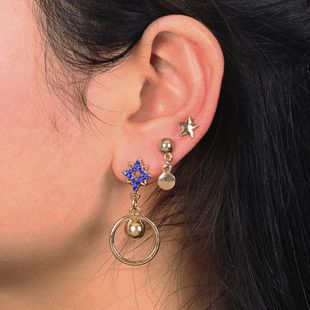 Womens Star Plating Rhinestone-studded Alloy Earrings NHNZ126674's discount tags