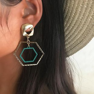 Womens Hexagon hollow Electroplating Alloy Earrings NHNZ126680's discount tags