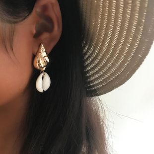 Womens Shell Conch Plating Alloy Earrings NHNZ126679's discount tags