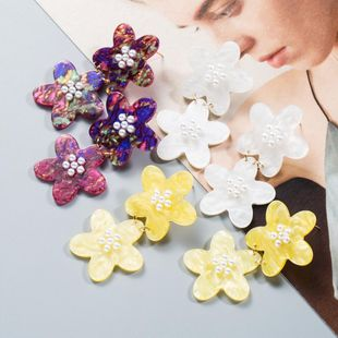 Womens Floral Acetate Sheet Earrings NHJE126682's discount tags