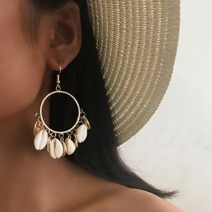 Womens Shell Plating Alloy Earrings NHNZ126683's discount tags