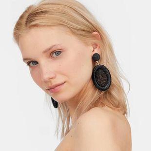 Womens Elliptical Woven mesh ellipse Raffia Earrings NHJE126701's discount tags
