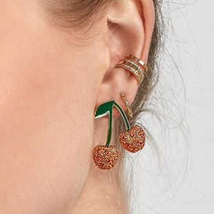 Womens Fruit Paint Cherry with rhinestones Alloy Earrings NHJQ126707's discount tags
