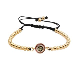 Micro-inlaid zircon round eye weave Copper Bracelets & Bangles NHYL126711's discount tags
