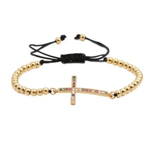Micro-inlaid zircon cross weaving Copper Bracelets & Bangles NHYL126712's discount tags