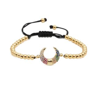 Micro-inlaid zircon meniscus copper bead weave Bracelets & Bangles NHYL126714's discount tags