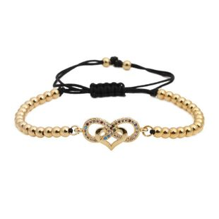 Micro-inlaid zircon love weaving Copper Bracelets & Bangles NHYL126716's discount tags