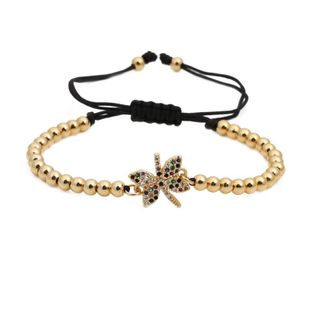 Micro-inlaid zircon butterfly weave Bow Copper Bracelets & Bangles NHYL126715's discount tags