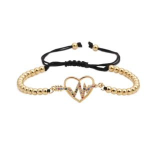 Micro-inlaid zircon animal heart-shaped heartbeat weave Copper Bracelets & Bangles NHYL126717's discount tags
