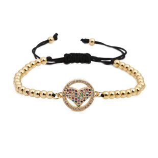 Micro-inlaid zircon heart braid Shaped Copper Bracelets & Bangles NHYL126721's discount tags