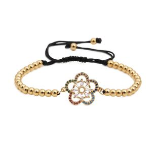 Micro-inlaid zircon flower copper bead weave adjustable Copper Bracelets & Bangles NHYL126723's discount tags