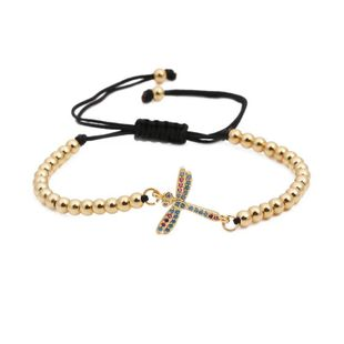 Micro-inlaid zircon insect copper bead weave adjustable Copper Bracelets & Bangles NHYL126726's discount tags