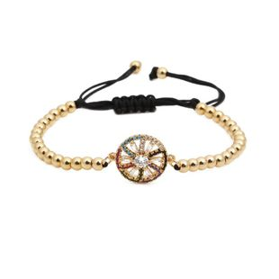 Micro-inlaid zircon round spiral braid adjustable Copper Bracelets & Bangles NHYL126724's discount tags