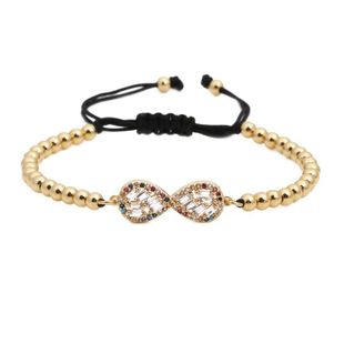 Micro-inlaid zircon weave adjustable Copper Bracelets & Bangles NHYL126727's discount tags