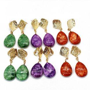 Womens Rhinestone metal Drop-shaped stone Earrings NHOM126736's discount tags
