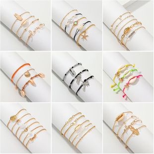 Womens Starfish Plating Alloy Weaving Shell Bracelets & Bangles NHNZ126740's discount tags
