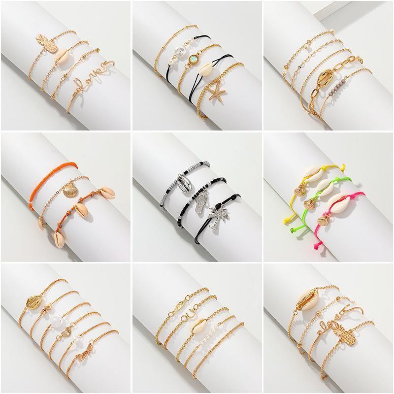 Womens Starfish Plating Alloy Weaving Shell Bracelets amp Bangles NHNZ126740