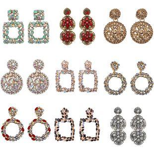 Womens Geometric Rhinestone Alloy Earrings NHJQ126744's discount tags