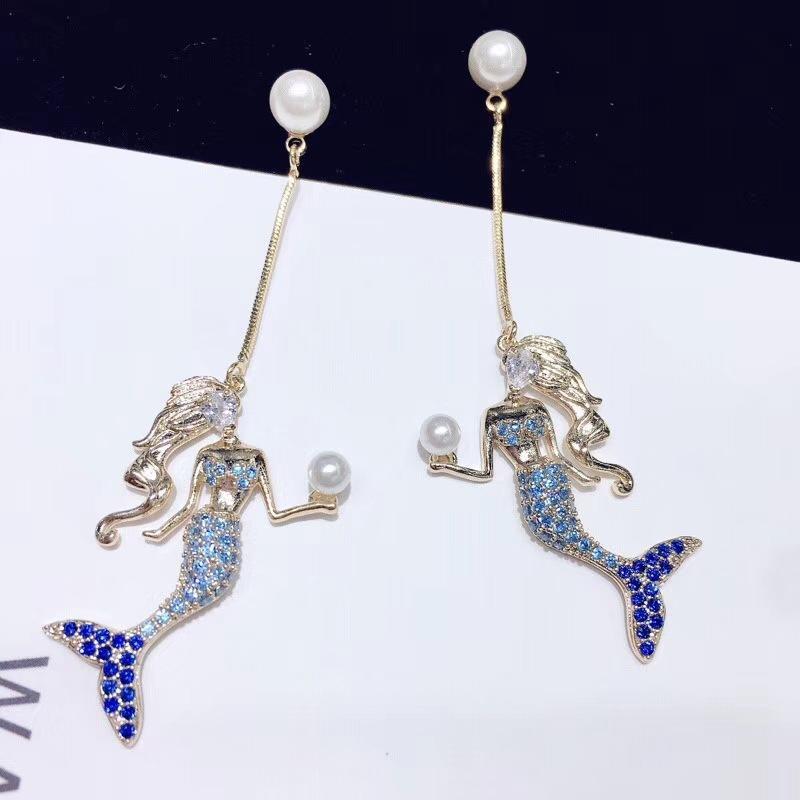 Womens Fashion mermaid earrings blue fishtail dolphin earrings NHWK126953