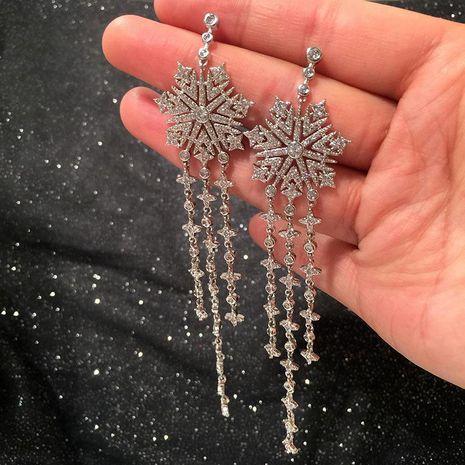 Womens Stylish extra long flower micro-set zircon earrings NHWK126962's discount tags