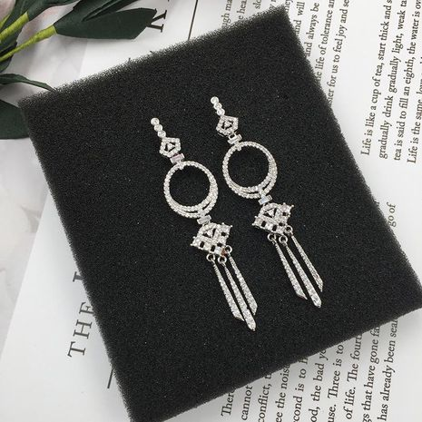 Womens Fashion long fringed micro-set zircon earrings NHWK126969's discount tags