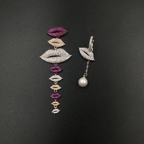 Womens Fashion asymmetric lips long tassel earrings NHWK126970's discount tags