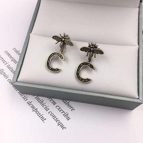 Womens Fashion Letter C Little Bee Stud Earrings NHWK126988's discount tags