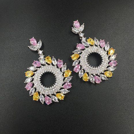 Womens Fashion micro-inlaid zircon circle earrings NHWK127002's discount tags