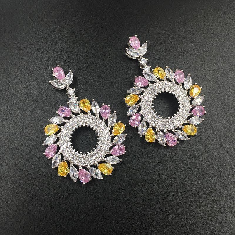 Womens Fashion micro-inlaid zircon circle earrings NHWK127002