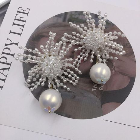 Womens Fashion hand-woven white beads large earrings NHWK127009's discount tags