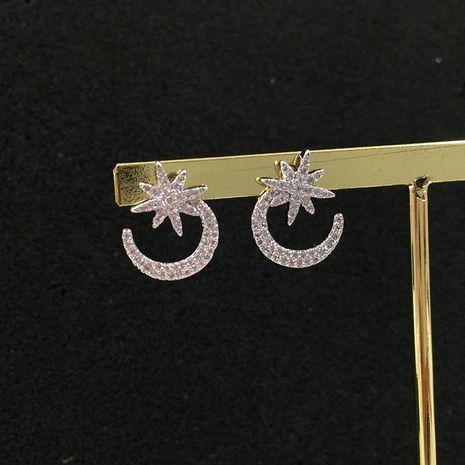 Womens Fashion  inlaid zircon stars moon earrings NHWK127010's discount tags