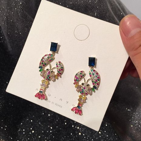 Fashion S925 Alloy Colored lobster-shaped Zircon Earrings NHWK127016's discount tags
