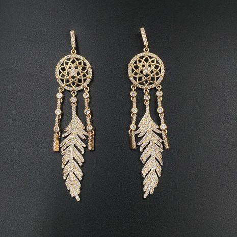 Boucles d'oreilles en zircon incrusté de plumes de Bohème NHWK127032's discount tags