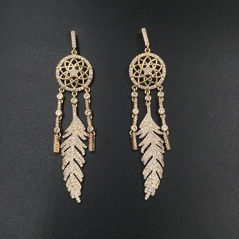Bohemian feather-fringed micro-inlaid zircon earrings NHWK127032's discount tags