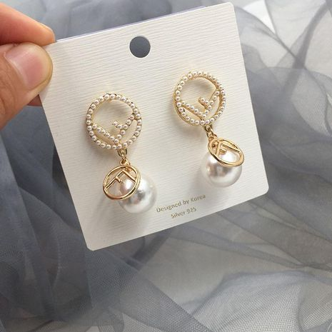 Fashion Letter Circle natural Beads Pendant Earrings  NHWK127041's discount tags