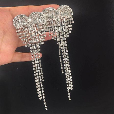Fashion long tassel heart-shaped earrings NHWK127042's discount tags