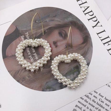 Womens Fashion hand-woven heart beads earrings NHWK127050's discount tags