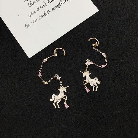 Womens Fashion Unicorn copper Earrings NHWK127045's discount tags
