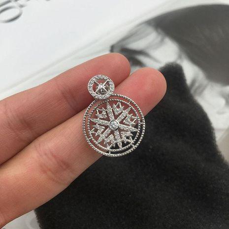 Fashion S925 Alloy Snowflake Circle Cutout Micro Zircon Earrings NHWK127051's discount tags