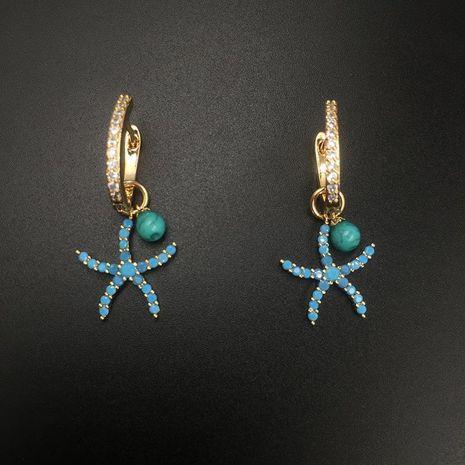 Womens Vacation Wind Starfish Micro Zircon Earrings NHWK127058's discount tags