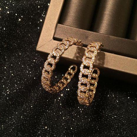 Womens Fashion chain ring micro-inlaid zircon earrings NHWK127071's discount tags