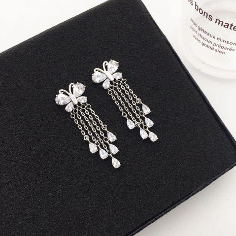 Womens Fashion Butterfly Tassel Long Drop Earrings NHWK127174's discount tags