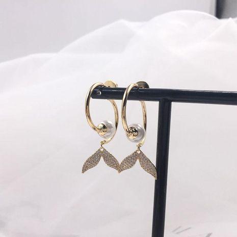 Fashion S925 Alloy Pin Micro Zircon Fishtail Earrings NHWK127175's discount tags
