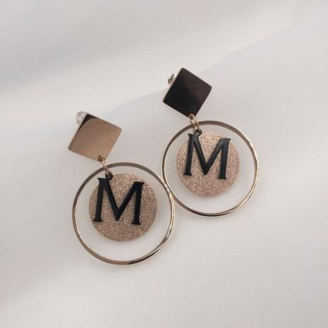 WomensFashion letter M earrings frosted sequins circle earrings NHWK127183's discount tags
