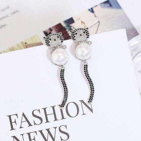 Womens Fashion S925 Alloy Pin Cat Tail Swing Earrings NHWK127196's discount tags