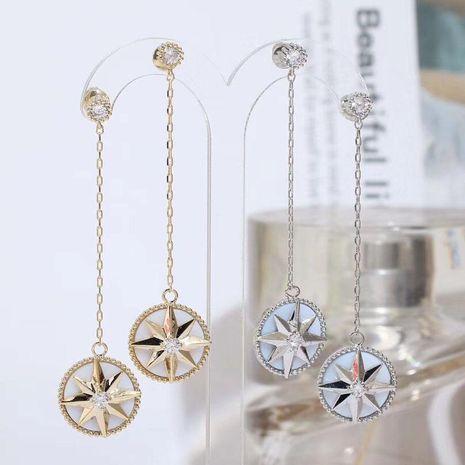 Fashion long tassel anise star earrings S925 alloy NHWK127197's discount tags