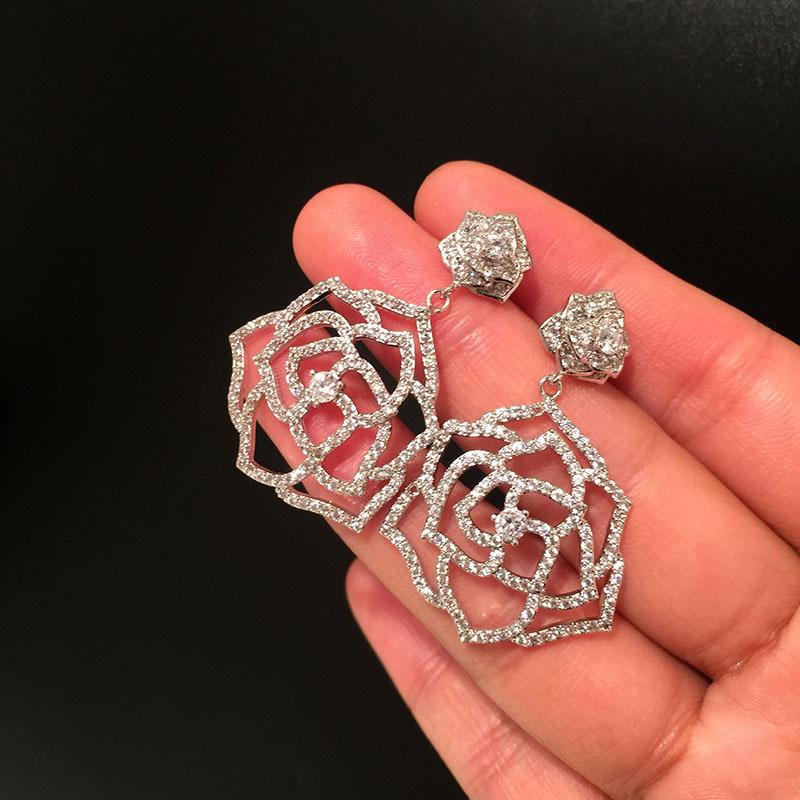 Womens Fashion S925 Alloy Camellia Earrings NHWK127199