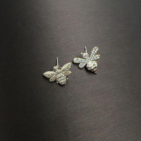 Fashion S925 alloy pin micro-set zircon asymmetric bee earrings NHWK127204's discount tags
