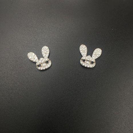 Womens Stylish cute bunny with zircon stud earringss NHWK127205's discount tags