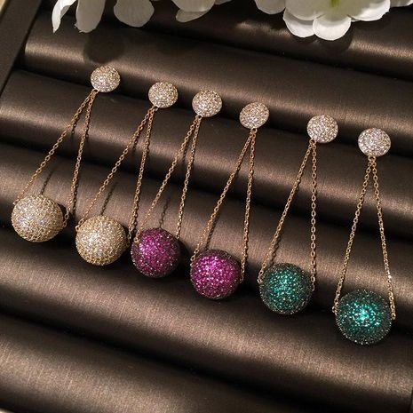 Womens Fashion colored ball micro-inlaid zircon earrings NHWK127209's discount tags